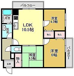 奈良県大和高田市西町の賃貸マンションの間取り