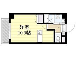 紺屋スカイマンション参番館 2階ワンルームの間取り