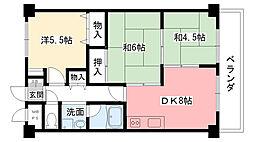 パレス野田[201号室]の間取り