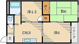 赤井マンション香里[4階]の間取り