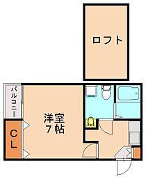 福岡県福岡市博多区千代1丁目の賃貸アパートの間取り