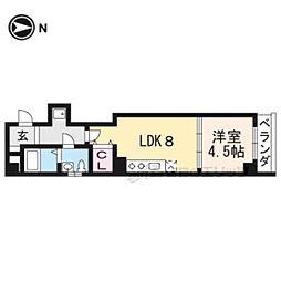 京都市営烏丸線 五条駅 徒歩8分の賃貸アパート 5階1LDKの間取り