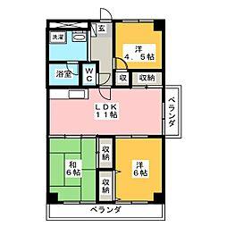 栃木県宇都宮市泉が丘2丁目の賃貸マンションの間取り