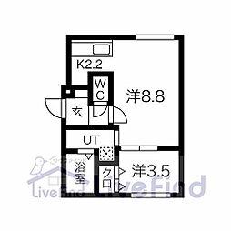 札幌市営東豊線 月寒中央駅 徒歩10分の賃貸マンション 3階1LDKの間取り