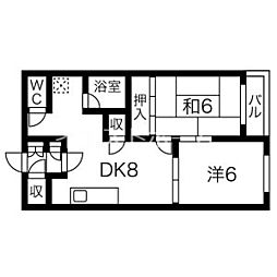 アリエス(旧北海コーポ) 4階2DKの間取り