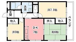 兵庫県西宮市天道町の賃貸マンションの間取り