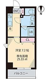 COURT TAKETOKUIII 2階1Kの間取り