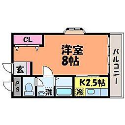 愛媛県松山市三番町8丁目の賃貸アパートの間取り