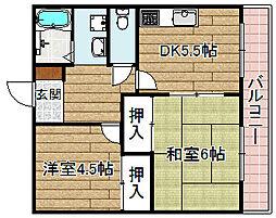 大阪府高槻市春日町の賃貸アパートの間取り