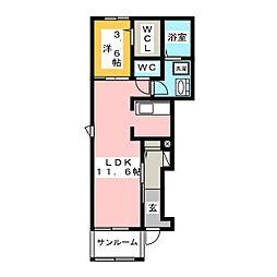 オリーブNJ[1階]の間取り