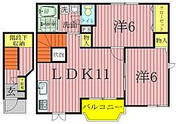 千葉県我孫子市都部の賃貸アパートの間取り