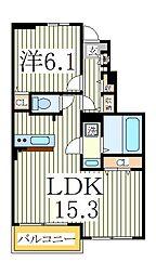 プリムローズ 1階1LDKの間取り