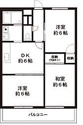 東京都昭島市緑町3丁目の賃貸マンションの間取り