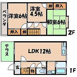 [テラスハウス] 広島県広島市安芸区中野5丁目 の賃貸【/】の間取り