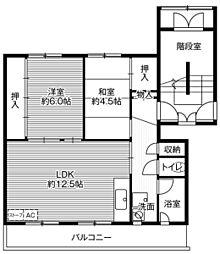 ビレッジハウス望洋2号棟 4階2LDKの間取り