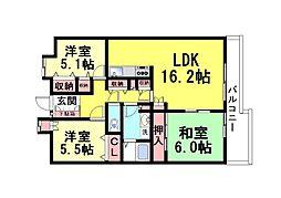 兵庫県神戸市灘区土山町の賃貸マンションの間取り