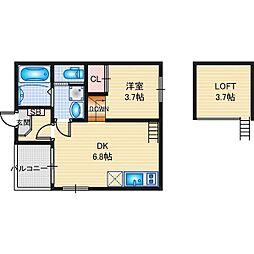 名古屋市営東山線 岩塚駅 徒歩5分の賃貸アパート 1階1DKの間取り