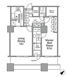 JR山手線 新橋駅 徒歩8分の賃貸マンション 13階1LDKの間取り