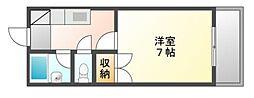 岡山県岡山市北区平田の賃貸マンションの間取り