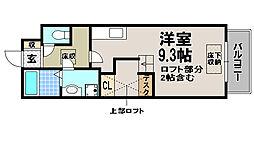 京都府京都市北区上賀茂石計町の賃貸アパートの間取り