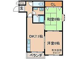 京都府京都市伏見区桃山最上町の賃貸マンションの間取り