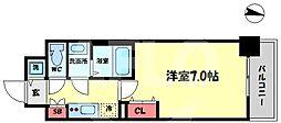 ファーストフィオーレ新梅田 6階1Kの間取り