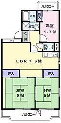 東京都羽村市小作台4丁目の賃貸マンションの間取り