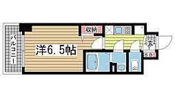プレサンス神戸キュリオ 12階1Kの間取り