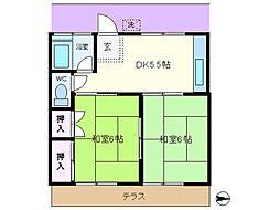 第2山崎コーポ[102号室]の間取り