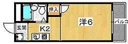 大阪府枚方市楠葉丘1丁目の賃貸アパートの間取り