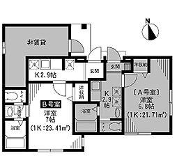 東京都世田谷区桜3丁目の賃貸アパートの間取り