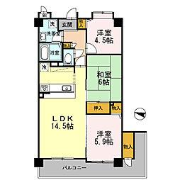 フローラ東館[3階]の間取り