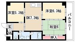愛知県尾張旭市北山町北新田3丁目の賃貸マンションの間取り