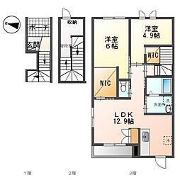 (仮)裾野市佐野アパート新築工事 3階2LDKの間取り