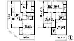 [テラスハウス] 大阪府池田市渋谷3丁目 の賃貸【/】の間取り