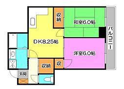 東京都東久留米市神宝町2丁目の賃貸マンションの間取り