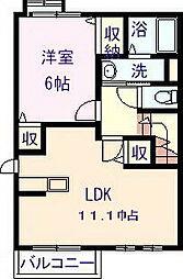 愛媛県新居浜市瀬戸町の賃貸アパートの間取り