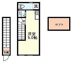 JR中央線 国分寺駅 徒歩6分の賃貸アパート 2階ワンルームの間取り