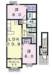 ハピネス A 2階2LDKの間取り