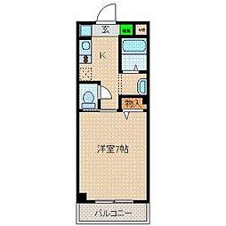 epoch 昭和町 2階1Kの間取り