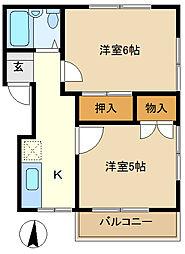 早川コーポ 202[2階]の間取り