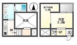 愛知県名古屋市港区港栄3の賃貸アパートの間取り