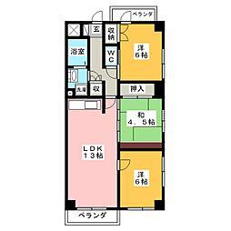 ハイツ秋桜[4階]の間取り