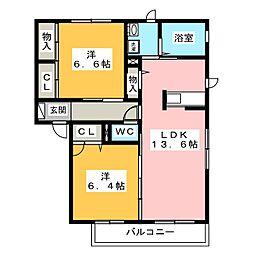 フォーリーブス B棟[2階]の間取り