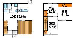 [テラスハウス] 福岡県福津市西福間1丁目 の賃貸【/】の間取り
