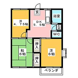 ベルゾーネ田村B[2階]の間取り