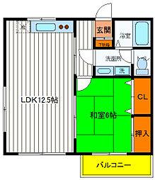 東京都日野市新町1丁目の賃貸アパートの間取り