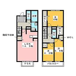 D-room平和 弐番館[1階]の間取り
