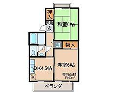 京都府京都市伏見区向島立河原町の賃貸アパートの間取り