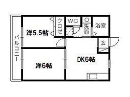 静岡県浜松市中区西浅田1丁目の賃貸アパートの間取り
